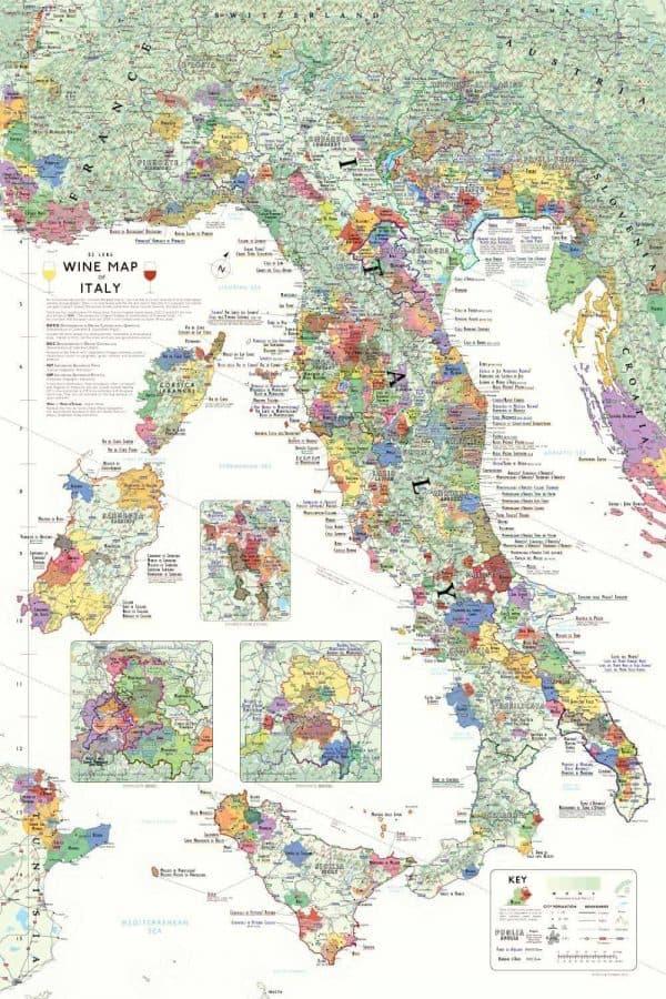 Italiaanse wijngebieden poster