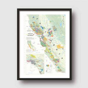 californie wijnkaart poster