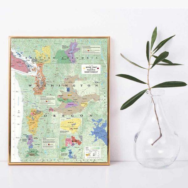 Wijnposter met wijngebieden van Washington en Oregon